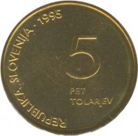 obverse of 5 Tolarjev - 50th Anniversary of Defeat of Fascism (1995) coin with KM# 22 from Slovenia. Inscription: REPUBLIKA SLOVENIJA • 1995 5 PET TOLARJEV