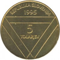 obverse of 5 Tolarjev - Centennial of Erection of Aljaž Tower (1995) coin with KM# 26 from Slovenia. Inscription: REPUBLIKA SLOVENIJA 1995 5 TOLARJEV