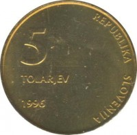 obverse of 5 Tolarjev - 5th Anniversary of Independence (1996) coin with KM# 32 from Slovenia. Inscription: 5 TOLARJEV 1996 REPUBLIKA SLOVENIJA