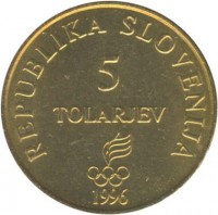 obverse of 5 Tolarjev - Olympics Centennial (1996) coin with KM# 33 from Slovenia. Inscription: REPUBLIKA SLOVENIJA 5 TOLARJEV 1996