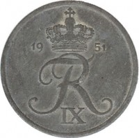 obverse of 5 Øre - Frederik IX (1950 - 1964) coin with KM# 843 from Denmark. Inscription: FR IX 1954
