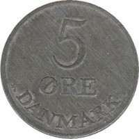 reverse of 5 Øre - Frederik IX (1950 - 1964) coin with KM# 843 from Denmark. Inscription: 5 ØRE DANEMARK N♥ S