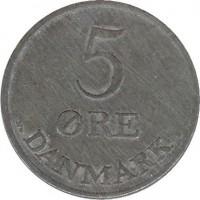 reverse of 5 Øre - Frederik IX (1950 - 1964) coin with KM# 843 from Denmark. Inscription: 5 ØRE DANEMARK N♥ S
