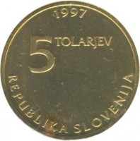 obverse of 5 Tolarjev - 250th Birthday of Žiga Zois (1997) coin with KM# 38 from Slovenia. Inscription: 1997 5 TOLARJEV REPUBLIKA SLOVENIJA
