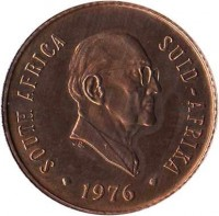 obverse of 2 cents - The End of Jacobus Johannes Fouche's Presidency (1976) coin with KM# 92 from South Africa. Inscription: SOUTH AFRICA SUID - AFRIKA · 1976 ·