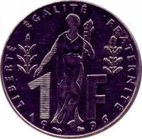 reverse of 1 Franc - Jacques Rueff (1996) coin with KM# 1160 from France. Inscription: 1F LIBERTÉ ÉGALITÉ FRATERNITÉ 19 96