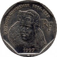 obverse of 2 Francs - Georges Guynemer (1997) coin with KM# 1187 from France. Inscription: GEORGES GUYNEMER 1894-1917 RF 1997