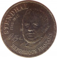 obverse of 10 Francs - Stendhal (1983) coin with KM# 953 from France. Inscription: STENDHAL 1783-1842 REPUBLIQUE FRANÇAISE H. Beyle