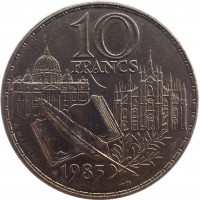 reverse of 10 Francs - Stendhal (1983) coin with KM# 953 from France. Inscription: 10 FRANCS 1983 J. MAUVIEL