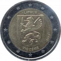 obverse of 2 Euro - Vidzeme (2016) coin with KM# 176 from Latvia. Inscription: LATVIJA 2016 VIDZEME