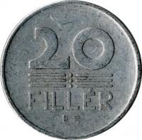reverse of 20 Fillér (1953 - 1966) coin with KM# 550 from Hungary. Inscription: 20 FILLÉR BP.