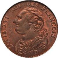 obverse of 12 Deniers - Louis XVI (1791 - 1793) coin with KM# 600 from France. Inscription: LOUIS XVI ROI DES FRANÇOIS D