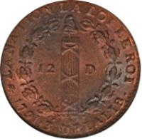 reverse of 12 Deniers - Louis XVI (1791 - 1793) coin with KM# 600 from France. Inscription: LA NATION LA LOI LE ROI 12D• 1791•3• DE LA LIB