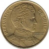 obverse of 1 Peso - Larger (1978 - 1979) coin with KM# 208a from Chile. Inscription: REPUBLICA DE CHILE So LIBERTADOR B. O'HIGGINS R.THENOT