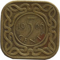 reverse of 5 Cents - Juliana (1962 - 1972) coin with KM# 12.1 from Suriname. Inscription: 19 5 66 CENT