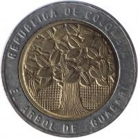 obverse of 500 Pesos (1993 - 2012) coin with KM# 286 from Colombia. Inscription: REPUBLICA DE COLOMBIA EL ARBOL DE GUACARI