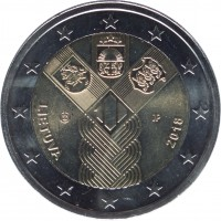 obverse of 2 Euro - 100th Anniversary of the Restoration of Lithuania's Independence (2018) coin from Lithuania. Inscription: LIETUVA 2018