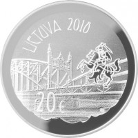 obverse of 20 Euro - 150th Birth Anniversary of Vilhelmas Storosta-Vydūnas (2018) coin from Lithuania. Inscription: LIETUVA 2018 20€