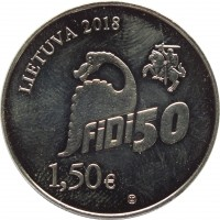 obverse of 1.5 Euro - 50th Physicists Day of Vilnius University: FiDi 50 (2018) coin from Lithuania. Inscription: LIETUVA 2018 FiFi50 1,50€