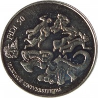 reverse of 1.5 Euro - 50th Physicists Day of Vilnius University: FiDi 50 (2018) coin from Lithuania. Inscription: FiDi 50 VILNIAUS UNIVERSITETAS