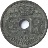 obverse of 25 Øre - Christian X - German Occupation (1941 - 1945) coin with KM# 823.2a from Denmark. Inscription: CX R 1941 N DANMARK GJ