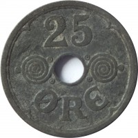 reverse of 25 Øre - Christian X - German Occupation (1941 - 1945) coin with KM# 823.2a from Denmark. Inscription: 25 ØRE