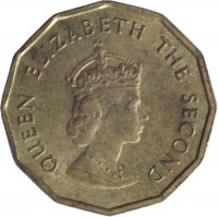 obverse of 1/4 Shilling - Elizabeth II - Norman Conquest (1966) coin with KM# 27 from Jersey. Inscription: QUEEN ELIZABETH THE SECOND