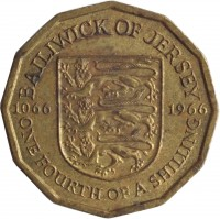 reverse of 1/4 Shilling - Elizabeth II - Norman Conquest (1966) coin with KM# 27 from Jersey. Inscription: BAILIWICK OF JERSEY 1066 1966 ONE FOURTH OF A SHILLING