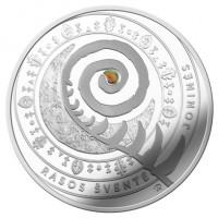 reverse of 5 Euro - Traditional Lithuanian Celebrations: Joninės (Rasos) (2018) coin from Lithuania. Inscription: RASOS ŠVENTĖ JONINĖS ER