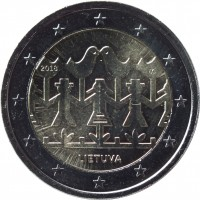 obverse of 2 Euro - Song and Dance Celebration (2018) coin from Lithuania. Inscription: 2018 LMK LIETUVA