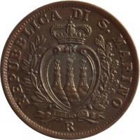 obverse of 5 Centesimi (1935 - 1938) coin with KM# 12 from San Marino. Inscription: REPUBBLICA DI S. MARINO LIBERTAS R