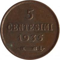 reverse of 5 Centesimi (1935 - 1938) coin with KM# 12 from San Marino. Inscription: 5 CENTESIMI 1935