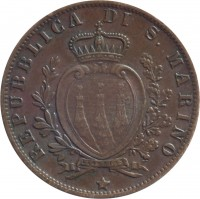obverse of 5 Centesimi (1864 - 1894) coin with KM# 1 from San Marino. Inscription: REPUBBLICA DI S. MARINO