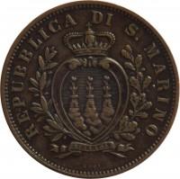 obverse of 10 Centesimi (1875 - 1894) coin with KM# 2 from San Marino. Inscription: REPUBBLICA DI S. MARINO LIBERTAS