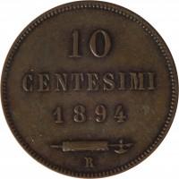 reverse of 10 Centesimi (1875 - 1894) coin with KM# 2 from San Marino. Inscription: 10 CENTESIMI 1894 R