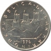 obverse of 1 Lira - Family: Hands with Flags (1976) coin with KM# 51 from San Marino. Inscription: REPUBBLICA · DI · SAN · MARINO · 1976