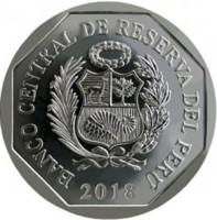 obverse of 1 Sol - Peru edangered Fauna: Jaguar (2018) coin from Peru. Inscription: BANCO CENTRAL DE RESERVA DEL PERÚ 2018