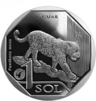 reverse of 1 Sol - Peru edangered Fauna: Jaguar (2018) coin from Peru. Inscription: JAGUAR Panthera onca 1 SOL