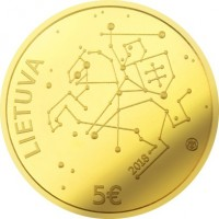 obverse of 5 Euro - Lithuanian Science: Technological Sciences (2018) coin from Lithuania. Inscription: LIETUVA 2018 5€