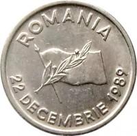 obverse of 10 Lei - Revolution Anniversary (1990 - 1992) coin with KM# 108 from Romania. Inscription: ROMANIA 22 DECEMBRIE 1989