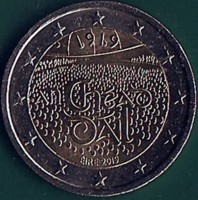 obverse of 2 Euro - 100 Years Since the 1st Meeting of Dail Eireann (2019) coin from Ireland.