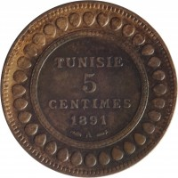 reverse of 5 Centimes - Ali III (1891 - 1893) coin with KM# 221 from Tunisia. Inscription: TUNISIE 5 CENTIMES 1891 A