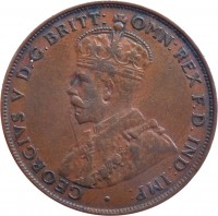 obverse of 1 Penny - George V (1911 - 1936) coin with KM# 23 from Australia. Inscription: GEORGIVS V D.G.BRITT: OMN:REX F.D.IND:IMP: