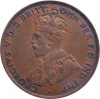 obverse of 1 Penny - George V (1911 - 1936) coin with KM# 23 from Australia. Inscription: GEORGIVS V D.G.BRITT: OMN:REX F.D.IND:IMP: