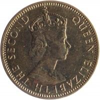 obverse of 1/2 Penny - Elizabeth II - 1'st Portrait (1955 - 1963) coin with KM# 36 from Jamaica. Inscription: QUEEN ELIZABETH THE SECOND