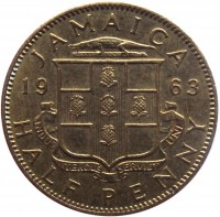 reverse of 1/2 Penny - Elizabeth II - 1'st Portrait (1955 - 1963) coin with KM# 36 from Jamaica. Inscription: JAMAICA 19 63 INDUS UTERQUE SERVIET UNI HALF PENNY