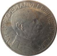 obverse of 2 Lire - Vittorio Emanuele III (1923 - 1935) coin with KM# 63 from Italy. Inscription: · VITTORIO · EMANVELE · III · RE · D'ITALIA ·