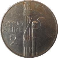 reverse of 2 Lire - Vittorio Emanuele III (1923 - 1935) coin with KM# 63 from Italy. Inscription: P.MORBIDUCCI A · MOTTI · INC · BVONO DA LIRE 2 1923 R