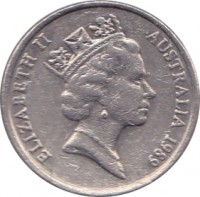 obverse of 10 Cents - Elizabeth II (1985 - 1998) coin with KM# 81 from Australia. Inscription: ELIZABETH II AUSTRALIA 1989 RDM