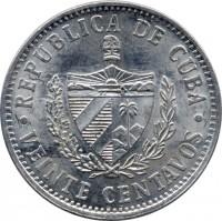 obverse of 20 Centavos (1969 - 2009) coin with KM# 35 from Cuba. Inscription: REPUBLICA DE CUBA · VEINTE CENTAVOS ·